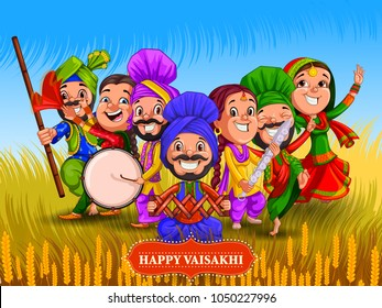 Happy Vaisakhi New Year festival of Punjab India. Vector illustration
