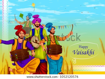 happy vaisakhi punjabi religious holiday background for new year festival of punjab india in vector