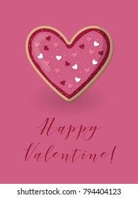 Happy valentine card with heart shape cookie. Love concept