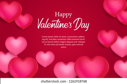 Happy Valentine day with 3D pink hearth shape balloon with red background. vector illustration