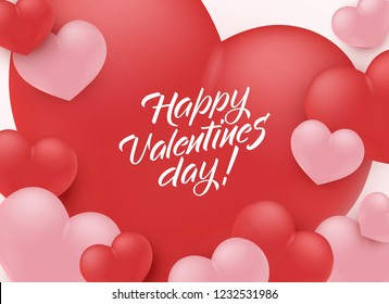Happy Valentine Day congratulation banner with red and pink 3d heart shapes - vector illustration of romantic greeting card. Beautiful love festive poster for 14 February.