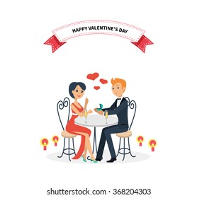Happy valentine day, couple lover sitting at table. Woman man restaurant, holiday day. Vector illustration.