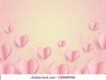 Happy valentine day. with creative pink love balloon concept on pastel pink background for copy space. minimal concept. Vector Illustration