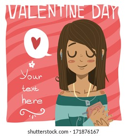 Happy valentine day greeting card.