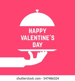 happy valentine day like serving hand. concept of luxury, dining, silverware cloche, gourmet, rendezvous, foodie, lunch symbol. flat style trend modern logotype graphic art design on pink background