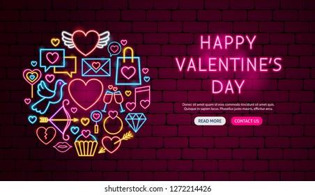 Happy Valentine Day Neon Banner Design. Vector Illustration of Love Promotion.