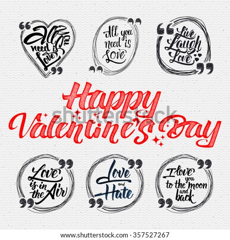 Happy Valentine Day Quotes All You Stock Vector Royalty Free