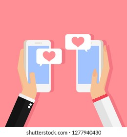 Happy valentine day,Man and woman holding smartphones