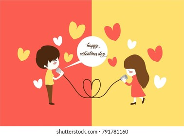 Happy valentine days. Male talk to female in different area as long distance relationship.