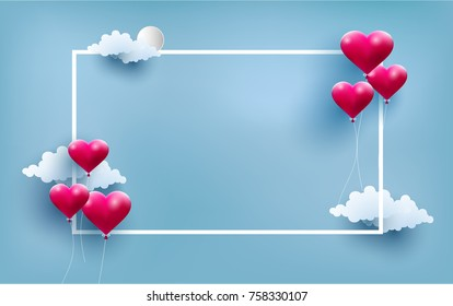 happy Valentine. illustrated love balloons with beautiful shapes. there is a frame for writing