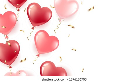 Happy Valentine s Day. Gel balloons-hearts red and pink, ash confetti. Banner with place for text. Happy birthday greeting card, International Women s Day. Isolated over white background. Vector