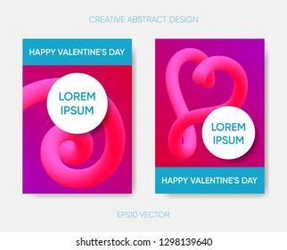 Happy valentine vector abstract design gradient fluid shapes