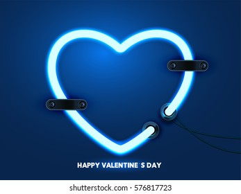 Happy valentines  abstrac dark blue background with lighting hart, EPS10 vector.