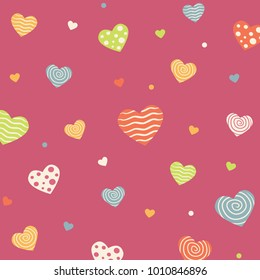 Happy Valentines Background with Beautiful Heart Colors, pink Background