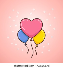 Happy Valentines balloons. Heart shaped balloons for special occasions, such as Valentines Day. Helium filled balloons decoration. Linear style vector illustration of Valentine's Day Balloons.