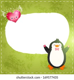 Happy Valentines card. Cute cartoon penguin with heart.