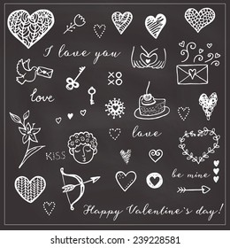 Happy Valentine's card. Hand drawn background elements.