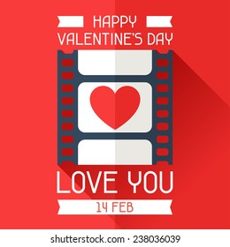 Happy Valentine's conceptual illustration in flat style.