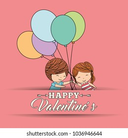 happy valentines cute little child holding bunch balloons