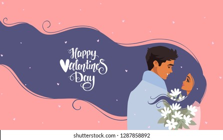 Happy Valentines Day 14 February illustration. Romantic happy loving couple. Vector illustration