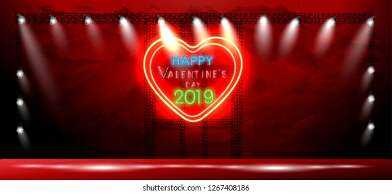 Happy  Valentine's day 2019 text -  Neon, alphabet, heart,spot light - Vector illustration.