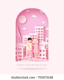 Happy Valentine's day 3d abstract paper cut illustration of landscape with couple, big city, sun and sky.