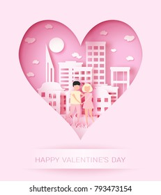 Happy Valentine's day 3d abstract paper cut illustration of colorful landscape with couple, big city, sun and sky.
