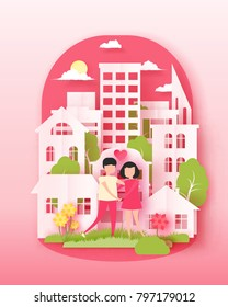 Happy Valentine's day 3d abstract paper cut illustration of colorful landscape with couple, big city, sun and sky. Vector design template