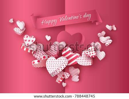 Happy Valentines Day 3 D Heart Garland Stock Vector Royalty Free