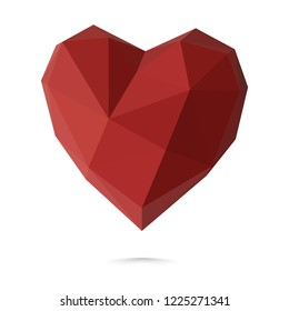 Happy Valentine's day 3d polygonal red heart on white background. February 14, love. Romantic wedding greeting card, women's, Mother's day. Vector illustration for graphic and web design.