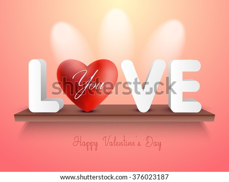 Happy Valentines Day 3 D Text Glossy Stock Vector Royalty Free