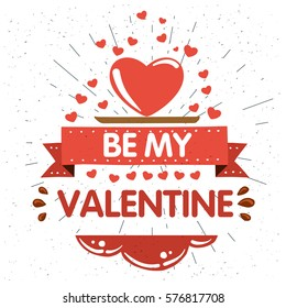 Happy valentines day abstrac background with big hart, EPS10 vector.