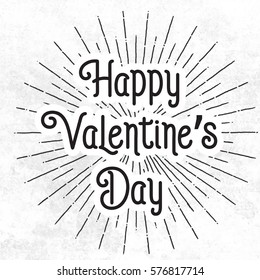 Happy valentines day  abstrac withe background with black text, EPS10 vector.