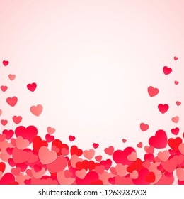 Happy Valentine's day abstract background with cut paper hearts. Vector illustration EPS10