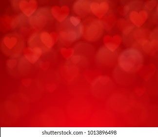 Happy Valentines Day. Abstract red blur  bokeh background with heart and circle shapes. Holiday decoration