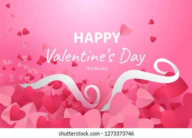 Happy valentine's day amidst a lot of heart-shaped paper piles with white ribbons. Creative gift design in eps10 vector illustration.