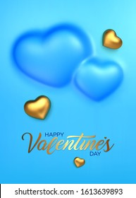 Happy Valentines Day. Awesome convex background with realistic 3d golden hearts. Amazing design vertical blue banner with chocolate hearts in gold foil. Vector illustration