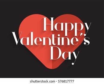 Happy valentines day back background with big hart white text, EPS10 vector.