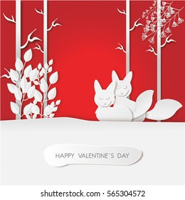 Happy valentines Day background with a couple of fox on snow in the forest,paper cut style,wood design,vector illustration