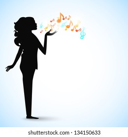 Happy Valentines Day background, greeting card or gift card with silhouette of a girl giving flying kiss.