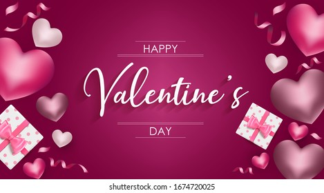 Happy Valentine's day background with heart and present composition for a trendy banner, poster or greeting card