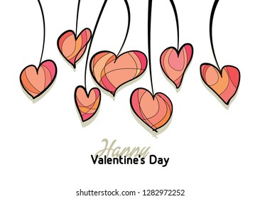 Happy Valentines Day background. Love card design. Hand drawn hearts collection
