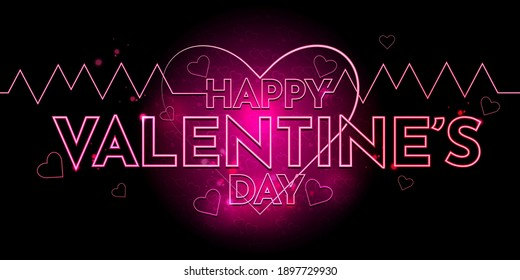 Happy Valentine's day background pink concept abstract backdrop on market website cover social media poster card banner holiday neon