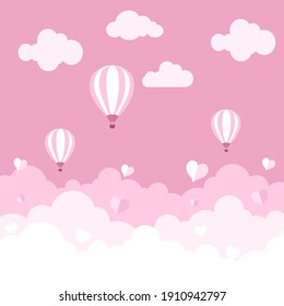 Happy Valentines Day background with pink clouds sky, balloon and hearts.