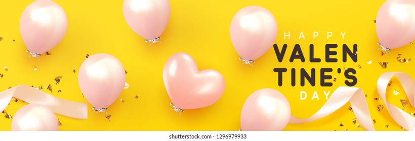 Happy Valentine's Day, background with realistic pink balloons shape heart