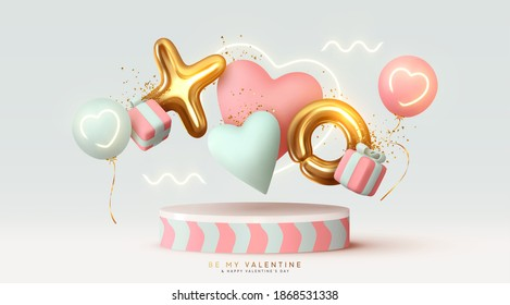 Happy Valentine's Day background. Realistic 3d stage podium, round studio, festive decorative objects, heart shaped balloons, XO symbol, falling gift box, glitter gold confetti. Holiday banner, poster