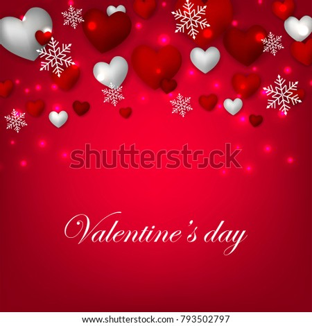 Happy Valentines Day Background Red Silver Stock Vector Royalty