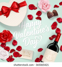 Happy Valentine's Day Background With Roses, Wine, Chocolate And Gift Box