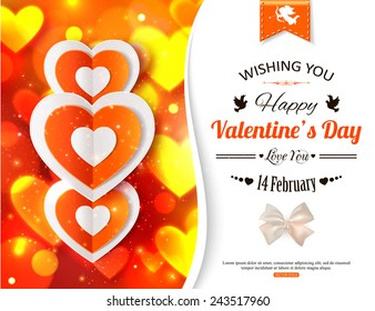 Happy Valentine's day background with shining soft hearts. Vector illustration