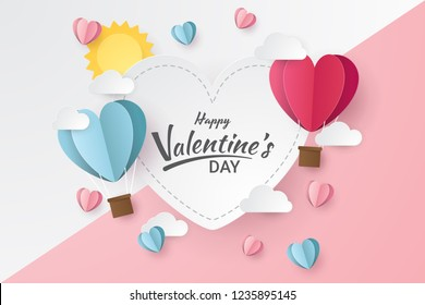 Happy valentine's day with balloon heart, sun and clouds. Paper cut style. Vector illustration
